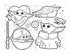 "artbylitzy ""baby yoda flash sheet ♡ he eat frog Carte Star Wars, Star Wars Art, Star Trek, Art Sketches, Art Drawings, Yoda Drawing, Star Wars Zeichnungen, Star Wars Drawings, Tattoo Flash Art"