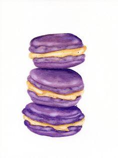Lavender Macaroons - ORIGINAL Painting (Desset Illustration, Still Life, Watercolour Food Wall Art) on Etsy, $47.05 CAD
