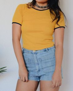 New! Dana Ringer tee in Mustard  also available in Heather Grey! Link in bio to shop • #shopdevi ✨