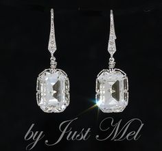 Wedding Earrings, Bridesmaid Earrings, Bridal Jewelry - Swarovski Clear Rectangular Crystal and Cubic Zirconia Earring (E483) via Etsy