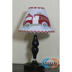 Geenny CF-2016-L Fire Truck Lamp Shade, (nursery, baby boy, fire truck, crib bedding, firetruck, toddler bedding, red, baby bedding, fire truck bedding, quilt)