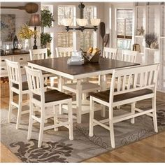 Signature Design by Ashley Whitesburg 8-Piece Square Counter Extension Table Set - D583-32+6x224+323