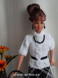 Stránky o panence Barbie - střihy a návody - bílý svetr