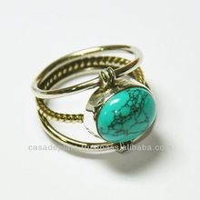 gold plated silver Rings, turquoise Gemtone Rings, Sterling Silver Jewelery, Fashion Ring