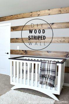 DIY Farmhouse Style Decor Ideas - DIY Wood Striped Wall - Rustic Ideas for Furniture, Paint Colors, Farm House Decoration for Living Room, Kitchen and Bedroom http://diyjoy.com/diy-farmhouse-decor-ideas