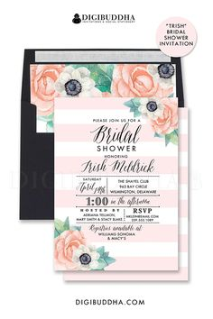 Blush pink striped bridal shower invitation with whimsical calligraphy and pretty painted watercolor anemone rose flowers.  Soft boho chic palette, optional floral envelope liner and black envelopes.  at digibuddha.com