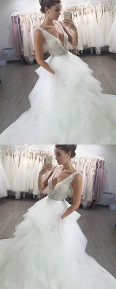 A-Line Deep V-Neck Long Wedding Dress with Beading by MeetBeauty, $255.64 USD