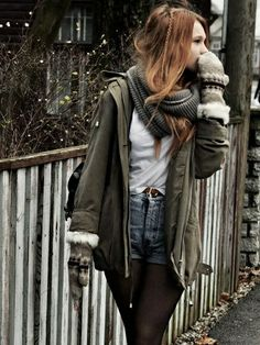 fall/Winter outfit shorts and tights are really cute for the cold!