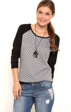 Deb Shops Long Sleeve Raglan Top with Quilted Front $10.25
