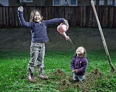 Kreativer Vater   2 kreative Töchter = Kreative Fotos
