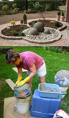 Great tutorial on making these large balls. I wonder if archeologists 2000 years from now will wonder what their purpose was! (back yard concrete) Concrete Crafts, Concrete Art, Concrete Garden, Concrete Projects, Concrete Planters, Garden Planters, Outdoor Projects, Outdoor Decor, Garden Crafts