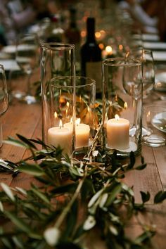 Wedding table decoration with olive leaves runner and candles, Tuscany country w. - Wedding table decoration with olive leaves runner and candles, Tuscany country wedding - Olive Wedding, Wedding Table Centerpieces, Centerpiece Ideas, Wedding Table Runners, Table Wedding, Flower Decorations, Pool Wedding Decorations, Decor Wedding, Wedding Flowers
