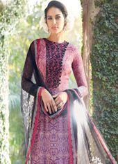 Purple Cotton Silk Churidar Suit 68163