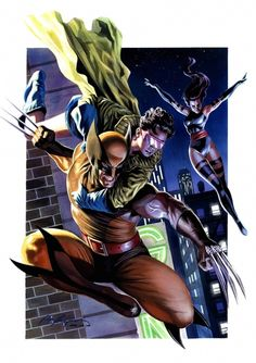 Wolverine, Jubilee and Psylocke by Felipe Massafera. There was actually a point when the X-Men consisted only of these Jubilee was unofficially a member Marvel Wolverine, Marvel Comics Art, Marvel Comic Books, Fun Comics, Marvel Characters, Marvel Heroes, Comic Books Art, Comic Art, Book Art
