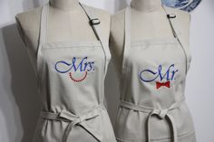 Couples Gift Set - His and Hers Aprons, Custom Wedding , Engagement Gifts, Personalized Aprons  . Mrs and Mr Aprons. by Wheelering on Etsy