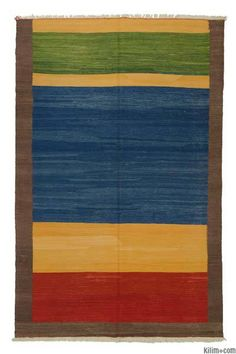 New Turkish Kilim Area Rug hand-woven in Turkey with vegetable-dyed and hand-spun wool.