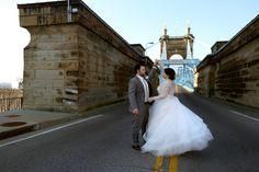 Twirling on the Roebling Suspension Bridge. #Cincinnati #weddingstyle #wedding #westoppedtraffic