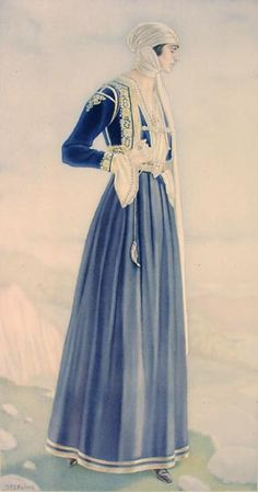 NICOLAS SPERLING Peasant Woman's Dress (Northern Epirus) lithograph on paper after original watercolour Greek Traditional Dress, Traditional Outfits, Greek Inspired Fashion, Greece Costume, Ancient Greek Costumes, Greek Dress, Authentic Costumes, Blue And White Dress, Costume Collection