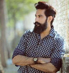 Popular Haircuts For Short Hair Men Mens Hairstyles With Beard, Cool Mens Haircuts, Men's Hairstyles, Long Beard Styles, Hair And Beard Styles, Beard And Mustache Styles, Hair Styles, Moustaches, Indian Beard Style