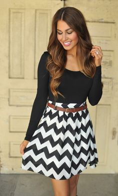 Dottie Couture Boutique - Chevron Dress- Black/Taupe, $46.00 (http://www.dottiecouture.com/chevron-dress-black-taupe/)