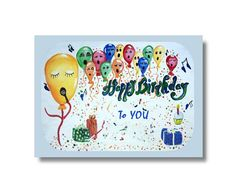 Singing Balloons Happy Birthday Digital by CowberryMoonCards