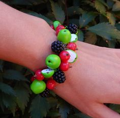 Handmade green apple  blackberry red currant Charm by PolyNaSTUDIO