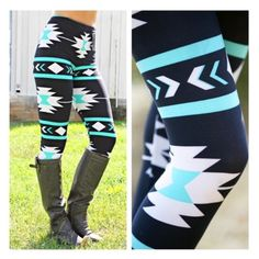• Mint Aztec Leggings • These mint beauties are the perfect addition to your wardrobe! Soft micro-fiber material that shapes to your body- one size fits most. Very stretchy. 65% polyester, 35% cotton. Machine wash cold.   ↓Follow me on Instagram ↓         @ love.jen.marie Jennifer's Chic Boutique Pants Leggings