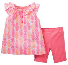 Amazon.com: Carter's Baby Girl 2 Pc Pink and Coral Seahorse Top and Short Set: Clothing