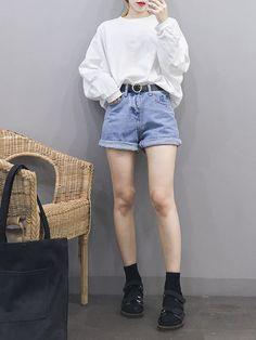 Korean fashion women t shirt fashion, korean fashion shorts, cute korean fashion, k Korean Fashion Shorts, Korean Fashion Winter, Korean Fashion Casual, Korean Fashion Trends, Ulzzang Fashion, Summer Fashion Outfits, Korea Fashion, Korean Outfits, Asian Fashion
