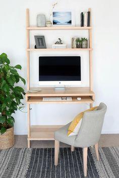 Home Office Shelves, Desk Shelves, Home Office Space, Home Office Design, House Design, Computer Desk With Shelves, Ladder Shelves, Apartment Office, Mid Century Modern Desk