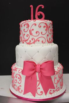 Inspired Picture of Sweet 16 Birthday Cake Ideas . Sweet 16 Birthday Cake Ideas Sweet 16 Cake Maybe In Red And Black And Gold Instead Sweet 16 Sweet 16 Birthday Cake, Birthday Cake Pictures, 21st Birthday Cakes, 21st Cake, Cupcake Birthday, Golden Birthday, Pretty Cakes, Cute Cakes, Beautiful Cakes