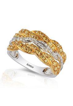 Soleil 14K White Gold Yellow & White Diamond Ring - Rings - Women