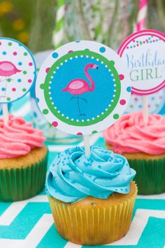 Flamingo Birthday Party Cupcake Toppers - Works for a pool party or just a regular summer birthday. Bright pinks, blues and greens perfect for a little girl's birthday.