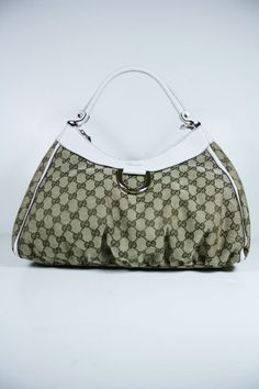 Gucci Handbags Beige Brown Fabric and White Leather 189833