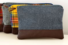 Zipper Pouch in Gray Wool and Leather mens dopp by PlumfieldShop, $30.00