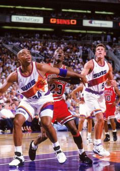 June 11, 1993 - Michael Jordan of the Chicago Bulls and Charles Barkley of the Phoenix Suns each scored 42 points in Chicago's 111-108 victory, marking the first time in NBA Finals history that opposing players each scored 40 or more points in a Finals game.