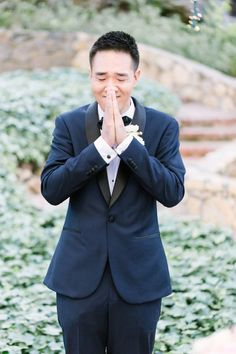 Adorable groom's first look moment: http://www.stylemepretty.com/2016/01/21/15-times-grooms-cried-first-seeing-their-beautiful-brides/: