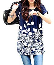 WomeWell Bohemia Women Floral Printed Blouse Oversize Short Sleeve Tops Dress Blue with White Flower