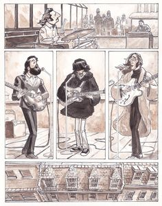 Dave Au did a great comic on the final time the Beatles played together.  Great caricatures of the band and wonderful art.