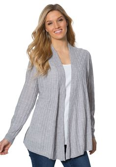 Light weight cable cardigan - Women's Plus Size Clothing