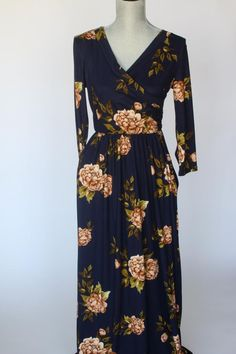 Navy Floral Crossover Maxi Dress Salt And Light, Maxi Wrap Dress, Girl Gang, Floral Maxi, Crossover, Pretty Dresses, Fall Outfits, Floral Design, Autumn Fashion