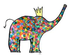 8x10 adorable multicolored elephant limited edition by ninotchkab, $25.00 U.S. shipping included