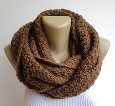 brown infinity unisex scarf men scarf women by senoAccessory, $35.00
