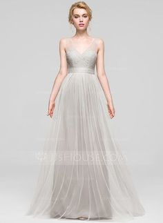 [US$ 119.99] A-Line/Princess V-neck Floor-Length Tulle Bridesmaid Dress