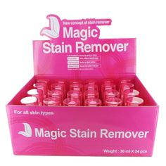 Magic Stain Remover Display Case Set 24 Pieces. 24 x Pieces per Display Case Set This product helps to remove all stains from daily life. For example, it will remove hair color remaining on skin after dyeing hair. It will also remove wine, coffee, juice, lipstick, foundation, pen marks, dyed clothes, etc. Avoid eyes when spraying it. Suggested Use: Garments Spray a few times onto the stained area. Gently rub the area after applying. Cleanse area with water to remove stain completely. Skin...