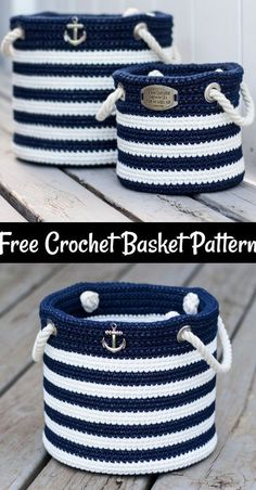 Free Crochet Basket Patterns,Free Crochet Nautical Basket-The possibilities are endless to make crochet basket free patterns that you can crochet and increase the beauty of your home. ideas for home projects Crochet Basket Free Patterns Crochet Diy, Diy Crochet Basket, Crochet Storage, Crochet Basket Pattern, Crochet Home Decor, Crochet Gifts, Knit Basket, Crochet Basket Tutorial, Tunisian Crochet