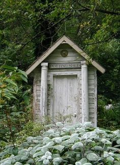 "Love the aged ""potting shed"" sign and the salvaged columns on this shed (My Sweet Savannah: PRETTY POTTING SHEDS)"
