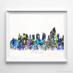 Manaus, Brazil Watercolor Skyline Wall Art Poster - Prices from $9.95 - Click Photo for Details - #skyline #watercolor #cityscape #bedroomdecor #Manaus #Brazil