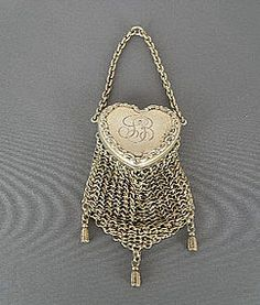 VICTORIAN STERLING CHATELAINE PURSE WITH HEART SHAPED LID