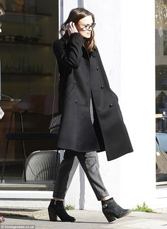 Stylish: The Hollywood actress appeared effortlessly stylish in her monochrome look